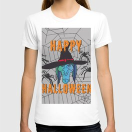 turquoise Witch Happy Halloween T-shirt