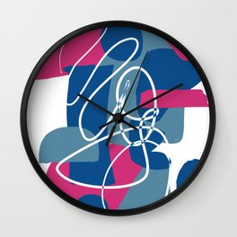 Shape Study in Blue and Pink Wall Clock