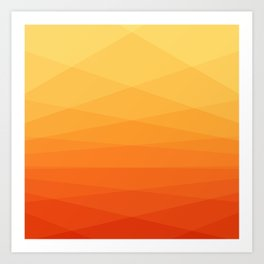 Orange and yellow ombre polygonal geometric pattern Art Print