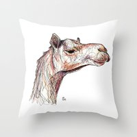 camel Throw Pillows featuring Camel by Ursula Rodgers