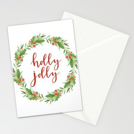 Christmas wreath-holly jolly Stationery Cards