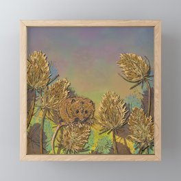 Harvest Mouse and Teasels Framed Mini Art Print