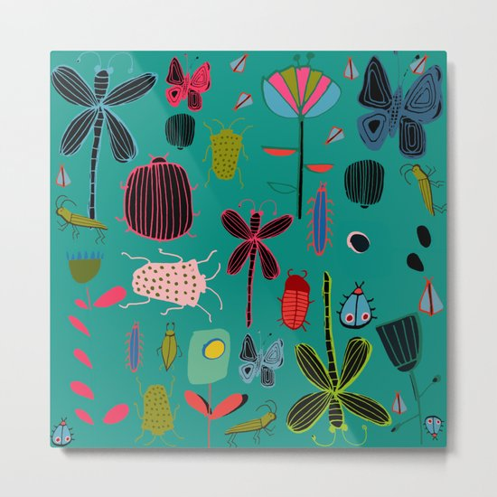 bugs and insects green Metal Print