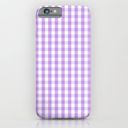 Lilac and White Gingham Check iPhone Case