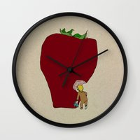 strawberry Wall Clocks featuring strawberry by Madmi