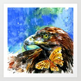 Golden Eagle And Butterfly by Kathy Morton Stanion Art Print