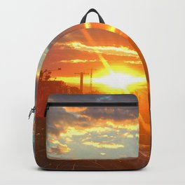 sunset over the train line Backpack