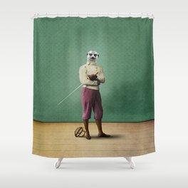 Milton Meerkat: Fencing Master Shower Curtain