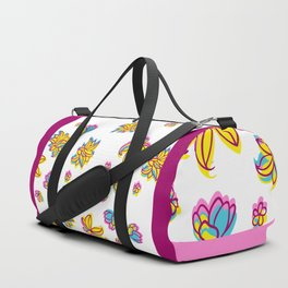 Vivid Summer with Colorful Tropical Flowers Duffle Bag