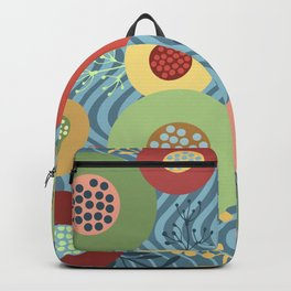 Modern Abstract Tropical Geometric Flower Pattern Backpack