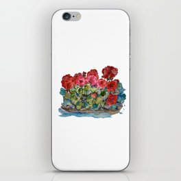 Red Geraniums painting iPhone Skin