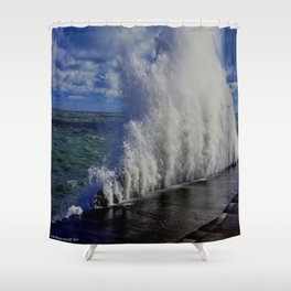 When Sandy Made Waves in Chicago #1 (Chicago Waves Collection) Shower Curtain