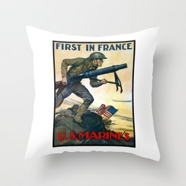 US Marines -- First In France Throw Pillow
