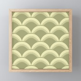 Japanese Fan Pattern Olive and Yellow Framed Mini Art Print