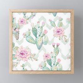 Cactus Rose Deconstructed Chevron Framed Mini Art Print
