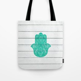 Hip Turquoise Hamsa Hand Henna Pattern Wood Stripe Tote Bag