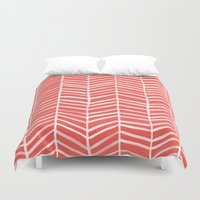 coral Duvet Covers featuring Coral Herringbone by Cat Coquillette