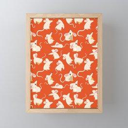 Happy mice pattern Framed Mini Art Print