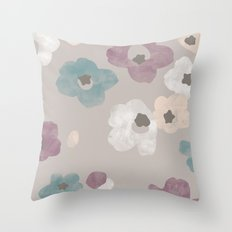 Watercolor Blooms - in Taupe Throw Pillow