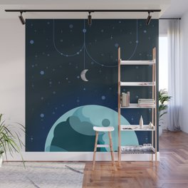 Moon and Planet Wall Mural