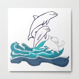 Happy Dolphins Metal Print