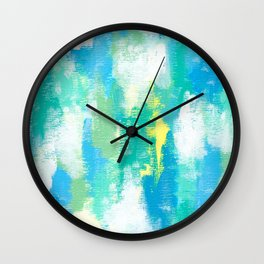 Calm Green abstract painting mint green pattern modern blue white sky nature contemporary Wall Clock