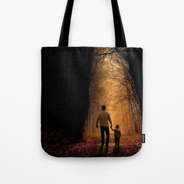 Father and Son in the Woods Tote Bag