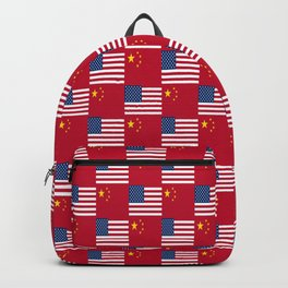 Mix of flag : usa and China Backpack