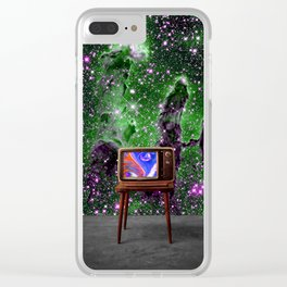 Tuned In - Vintage TV Set in Space Collage Clear iPhone Case