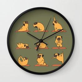 Pug Yoga In Khaki Wall Clock