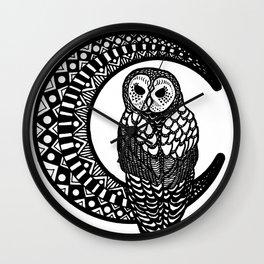 Owl and Moon Wall Clock