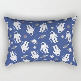 Astronaut and Planets Print on Blue Background Rectangular Pillow