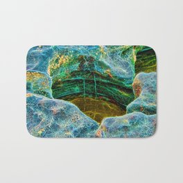 Abstract rocks with barnacles and rock pool Bath Mat