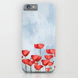 Poppyfield poppies poppy blue sky- watercolor artwork iPhone Case