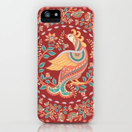 Peacock and ornaments on a red background. iPhone Case