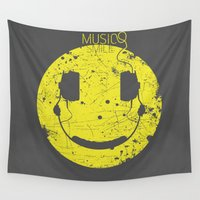 selena Wall Tapestries featuring Music Smile V2 by Sitchko
