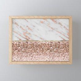Warm chromatic - rose gold marble Framed Mini Art Print