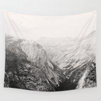 yosemite Wall Tapestries featuring Yosemite Beauty (b&w)  by Tara Yarte