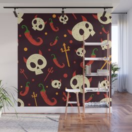 Skulls Hot Chili Peppers Hell Pattern Wall Mural