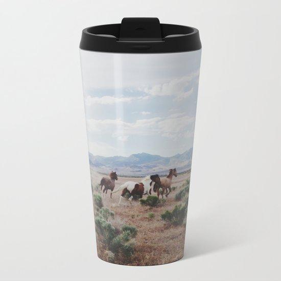Running Horses Metal Travel Mug