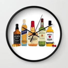 Whiskey Bottles Illustration Wall Clock