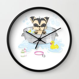 Bathing the puppy Wall Clock