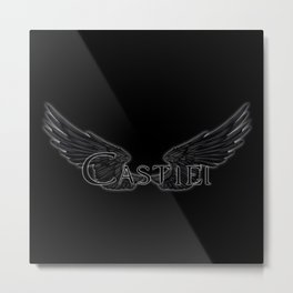 Castiel with Wings Black Metal Print