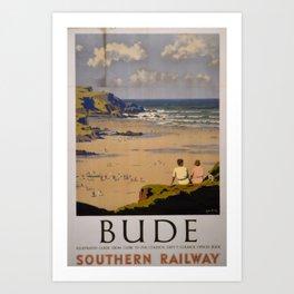 vintage Plakat Bude Art Print