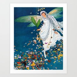 Bride in Paris with Calla Lilies and Butterflies portrait painting by George Wolfe Plank Art Print