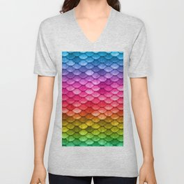 Rainbow fantasy colorful mermaid fish Scales Unisex V-Neck