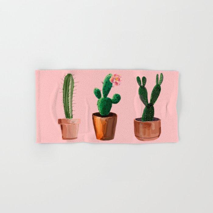 Three Cacti On Pink Background Hand & Bath Towel
