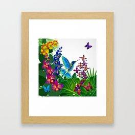 Tropical Hummingbird Pattern 1 Framed Art Print