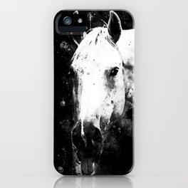 white horse face portrait watercolor splatters black white iPhone Case