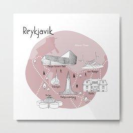 Reykjavik Map - Pink Metal Print